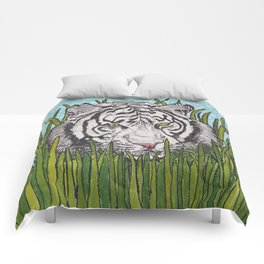 White tiger in wild grass Comforters