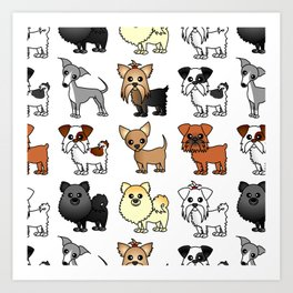 Cute Toy Dog Breed Pattern Art Print