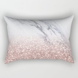 Rose Gold Glitter Marble Rectangular Pillow