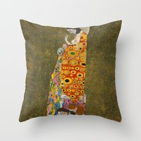 gustav klimt Throw Pillows featuring Gustav Klimt - Hope, II by ArtMasters