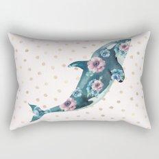 Whale Ocean Rose + Gold Polka Dot Rectangular Pillow