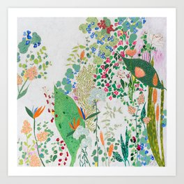 Painterly Floral Jungle on Pink and White Art Print