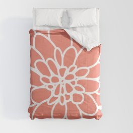 Coral Modern Dahlia Flower Comforters
