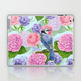 Blue jay and flowers watercolor pattern Laptop & iPad Skin