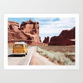 Red SouthWest Desert Roadtrip in Yellow V W Camper Van - USA Art Print