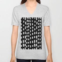 Artistic modern black white paint brushstrokes Unisex V-Neck