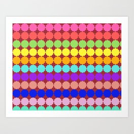 Stylized round multi-colored flowers (red background) Art Print
