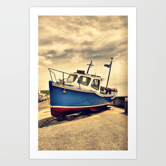 Boat a  shore Art Print