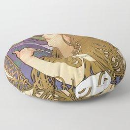 Alfons Mucha - Job 1896 - Digital Remastered Edition Floor Pillow