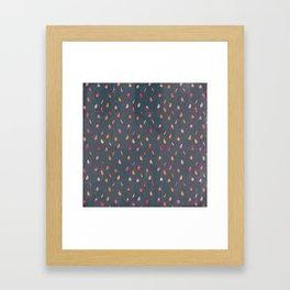 Dark gray orange pink watercolor abstract raindrops Framed Art Print