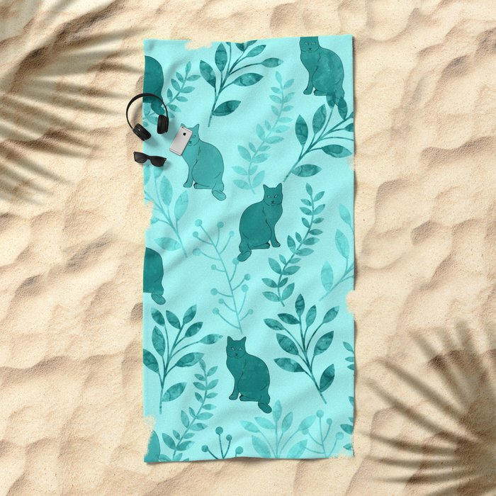 Watercolor Floral and Cat VIII Beach Towel