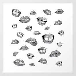 Lips. Black and white drawing. Art Print