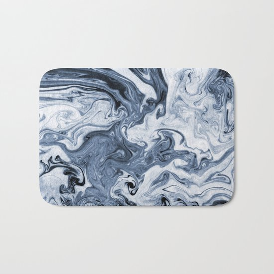 Isao - spilled ink art print marble blue indigo india ink original waves ocean watercolor painting  Bath Mat
