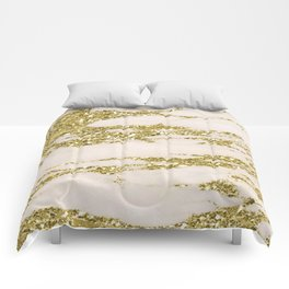 Marble - Gold Marble Glittery Light Pink and Yellow Gold Comforters