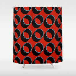 Tubes on Red Shower Curtain