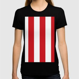 Wide Vertical Stripes - White and Fire Engine Red T-shirt