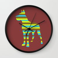 great dane Wall Clocks featuring Great Dane Stripes by Whimsy Notions Designs