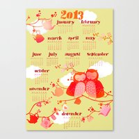 calender Canvas Prints featuring Owl Calender 2013 by Elisandra