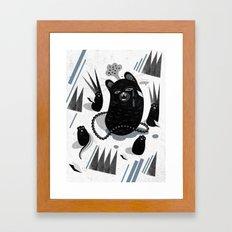 Cat in snow Framed Art Print
