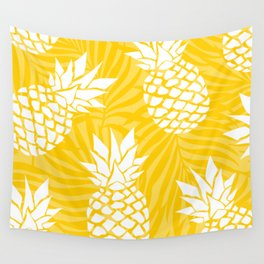 Bright Yellow, Summer, Pineapple Art Wall Tapestry