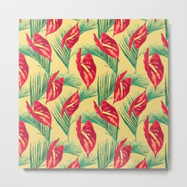 Pop Tropical Leaves Seamless Pattern Series 3 Metal Print
