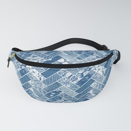 Hygge Style Textured Herringbone Pattern – Navy Blue Fanny Pack