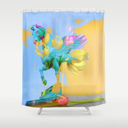 The Fly of Angelic Flowers - Digital Mixed Fine Art Shower Curtain