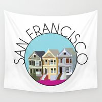 san francisco Wall Tapestries featuring SAN FRANCISCO by Lauren Jane Peterson