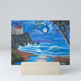 Lighthouse on the cliff Mini Art Print