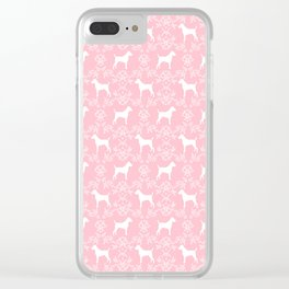 Jack Russell Terrier floral silhouette dog breed pet pattern silhouettes dog gifts pink Clear iPhone Case