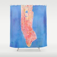 manhattan Shower Curtains featuring Manhattan  by Marta Olga Klara