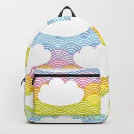 Kawaii white clouds and rainbow sky Backpack