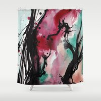 tangled Shower Curtains featuring Tangled by BiancaCarpenterArt