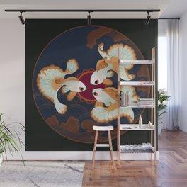 Three tosakin goldfish Wall Mural