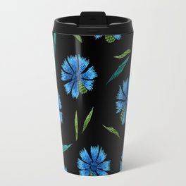 Embroidered Flowers on Black Pattern 05 Travel Mug