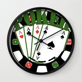 Poker Gift Cards Game Full House As King Wall Clock