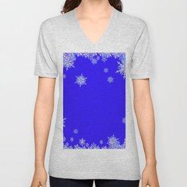 LACEY WHITE SNOWFLAKES HOLIDAY BLUE ART Unisex V-Neck