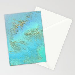 Turquoise Blue and Gold Stone Stationery Cards