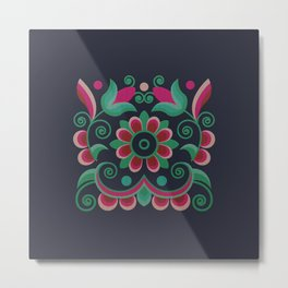 Grace Embroidered Flowers Metal Print