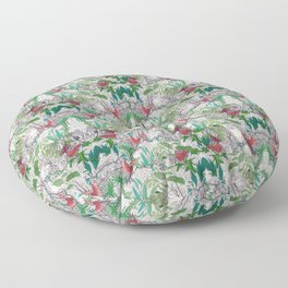 patterned with colorful birds on jungle trees Floor Pillow