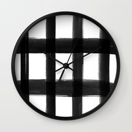Black Brush Strokes Wall Clock