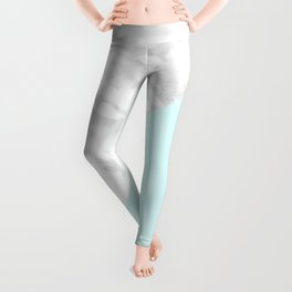 White Marble with Pastel Blue and Grey Leggings