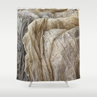 lace Shower Curtains featuring Lace by Jillian Audrey
