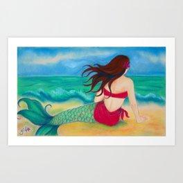Thinking of You Mermaid, Hawaiiana Art Print