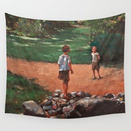 Rencontre au parc Wall Tapestry