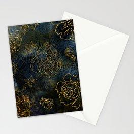 Big Roses In Gold On Indigo Background Stationery Cards