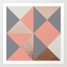 Blush Copper Geo Art Print