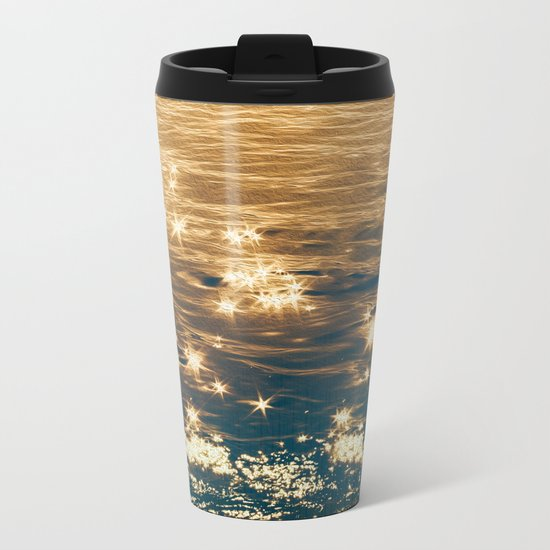 Sparkling Ocean in Gold and Navy Blue Metal Travel Mug