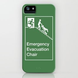 Accessible Means of Egress Icon, Emergency Evacuation Chair Sign iPhone Case
