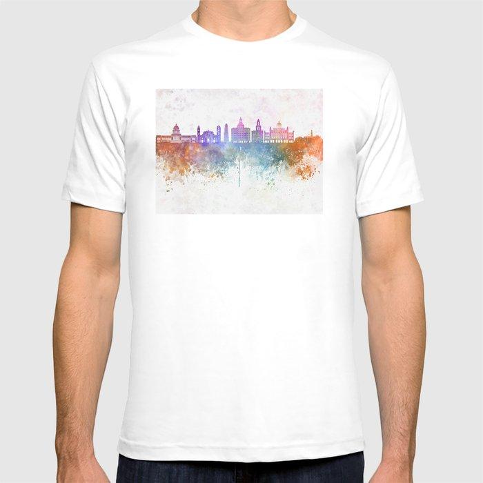 e957835cb0f Havana V2 skyline in watercolor background T-shirt by paulrommer ...